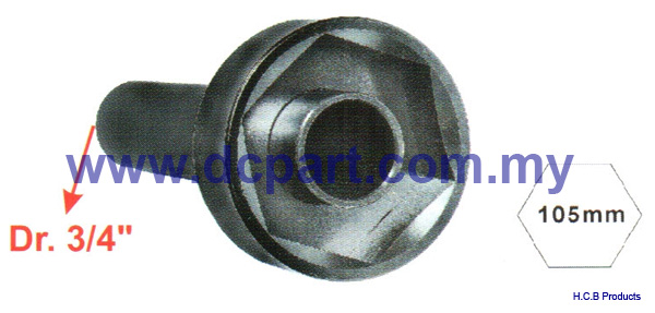 European Truck Repair Tools<br>VOLVO TRUCK AXLE NUT SOCKET Dr. 3/4, 6 POINTS, 105mm